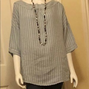 Linen chambray and white drop shoulder top